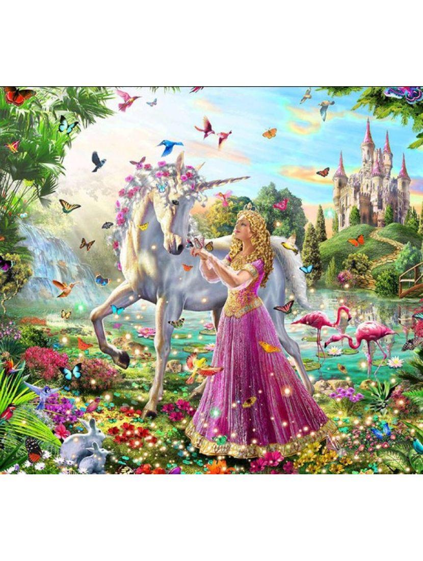 Алмазная мозаика на подрамнике «Принцесса и единорог»