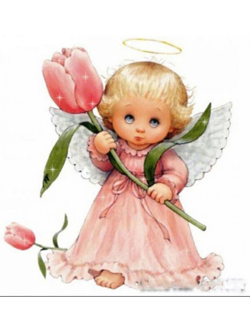Алмазная мозаика на подрамнике «Ангел с цветком»