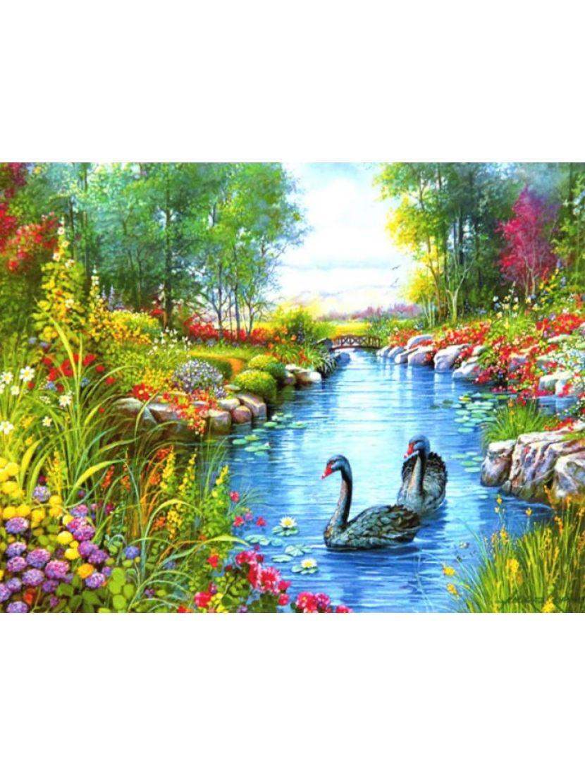 Алмазная мозаика на подрамнике «Чёрные лебеди»