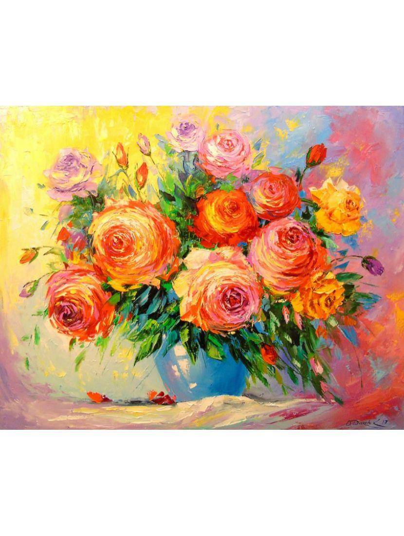 Алмазная мозаика на подрамнике «Розы»