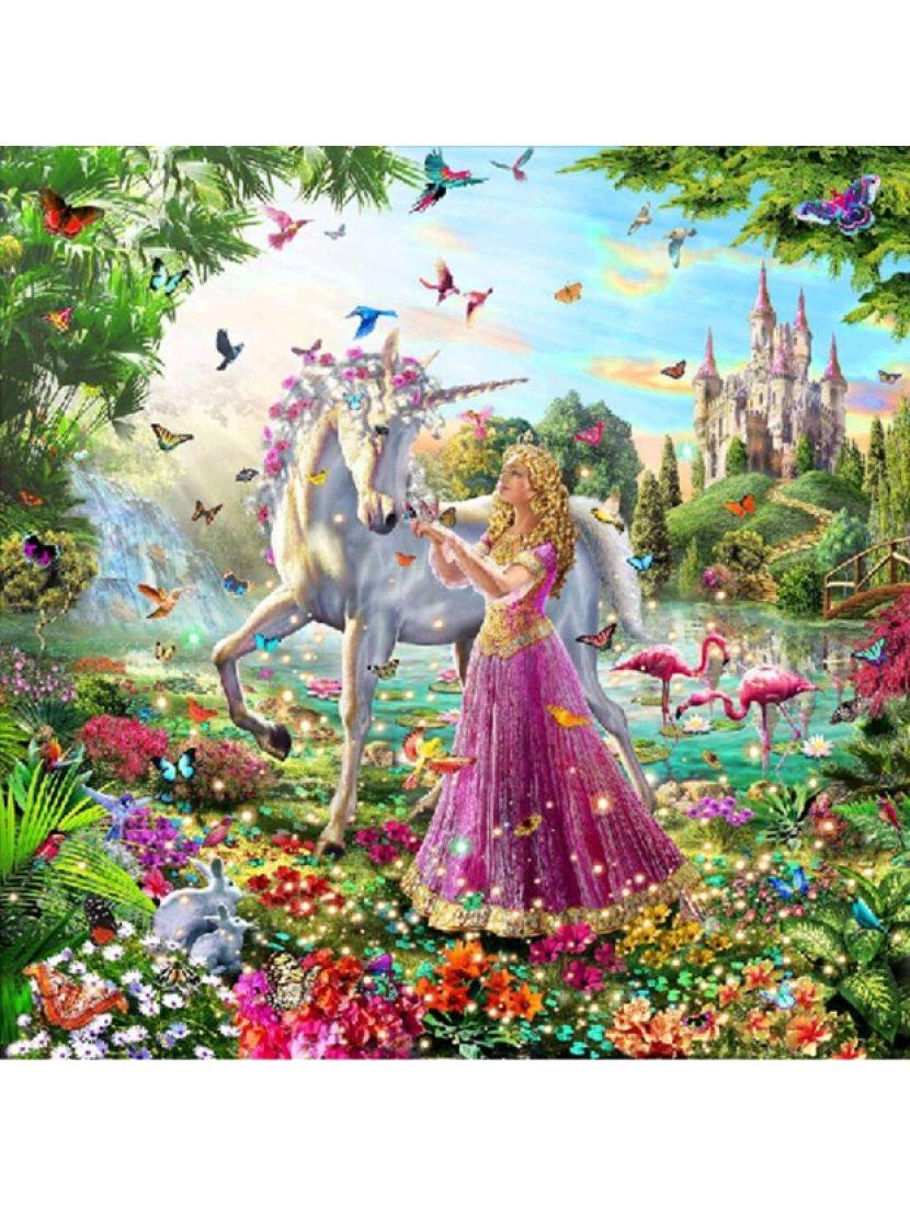 Алмазная мозаика на подрамнике «Единорог и дева»