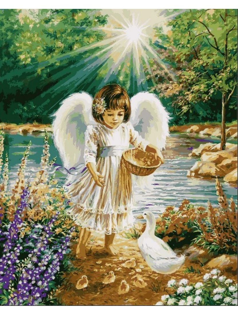 Алмазная мозаика на подрамнике «Ангельская забота»