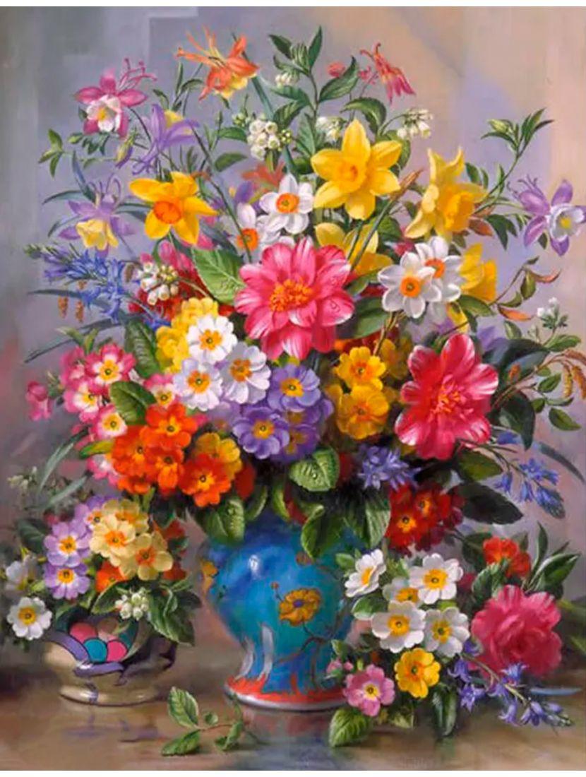 Алмазная мозаика на подрамнике «Весенние цветы»