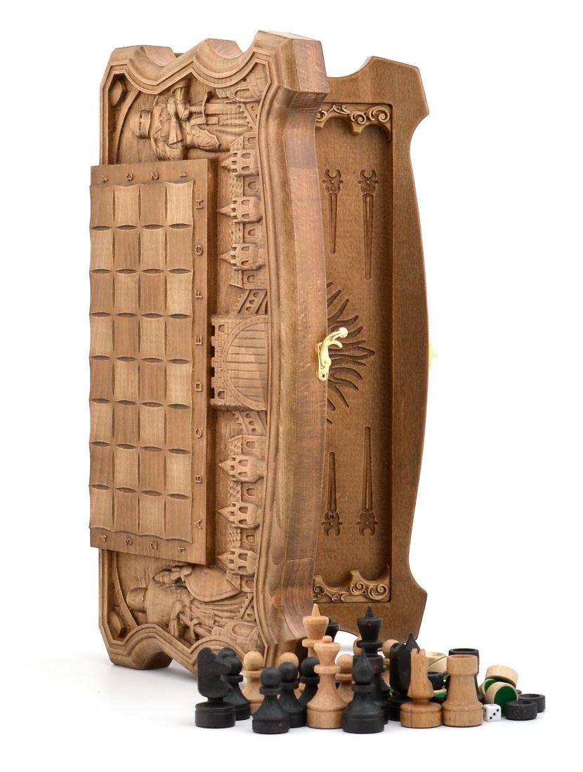 Нарды, шахматы, шашки «Рыцарские» резные из бука