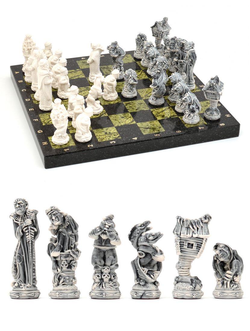 Шахматы каменные «Русские сказки» тёмно-зелёная доска 38x38 см
