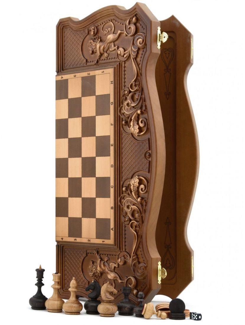 Нарды + шахматы + шашки «Купеческие» фигурки бочата