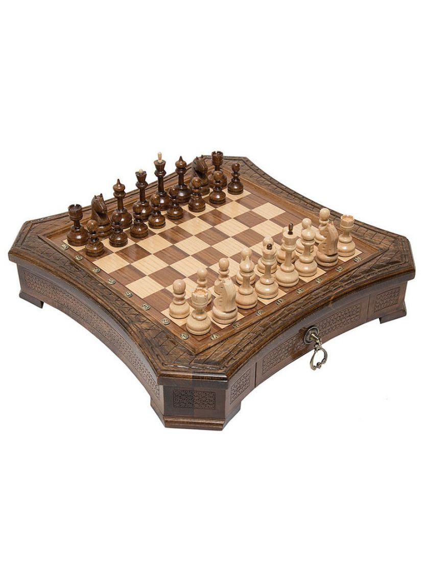 Шахматы «Восьмиугольные» с выдвижными ящиками мастер Карен Халеян