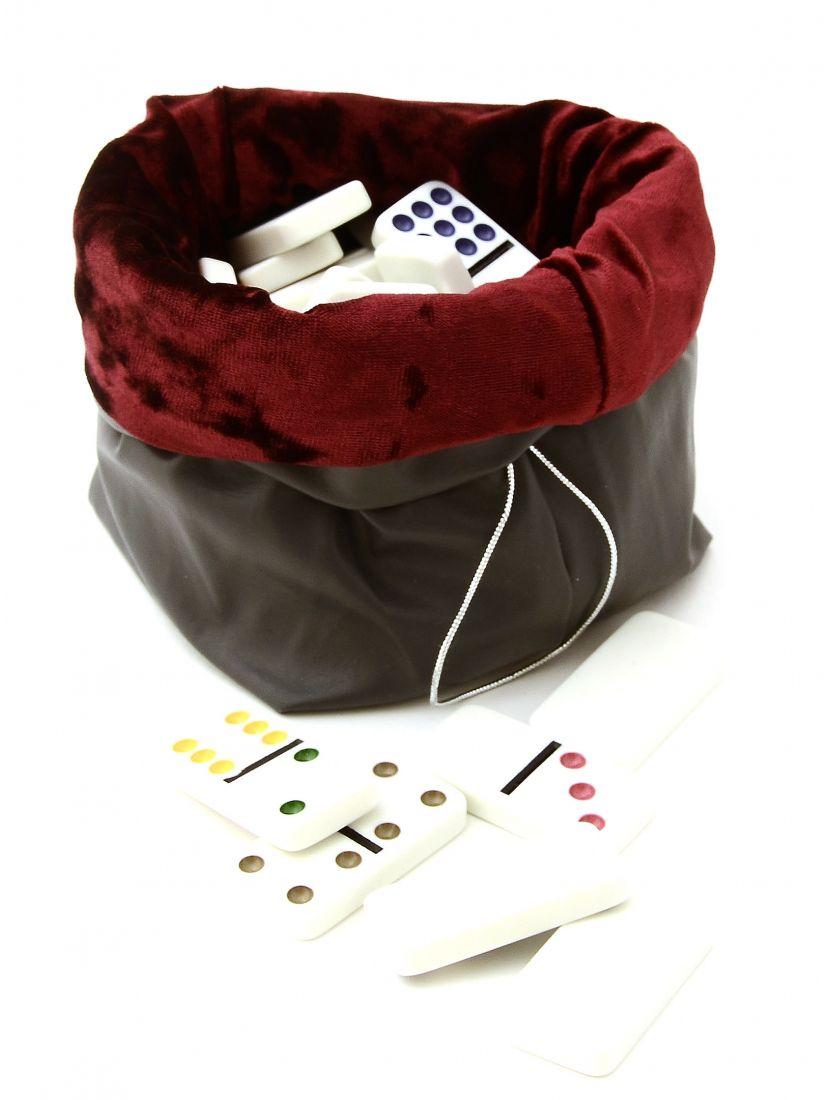 Домино 12 цветных точек в сером кожаном мешочке