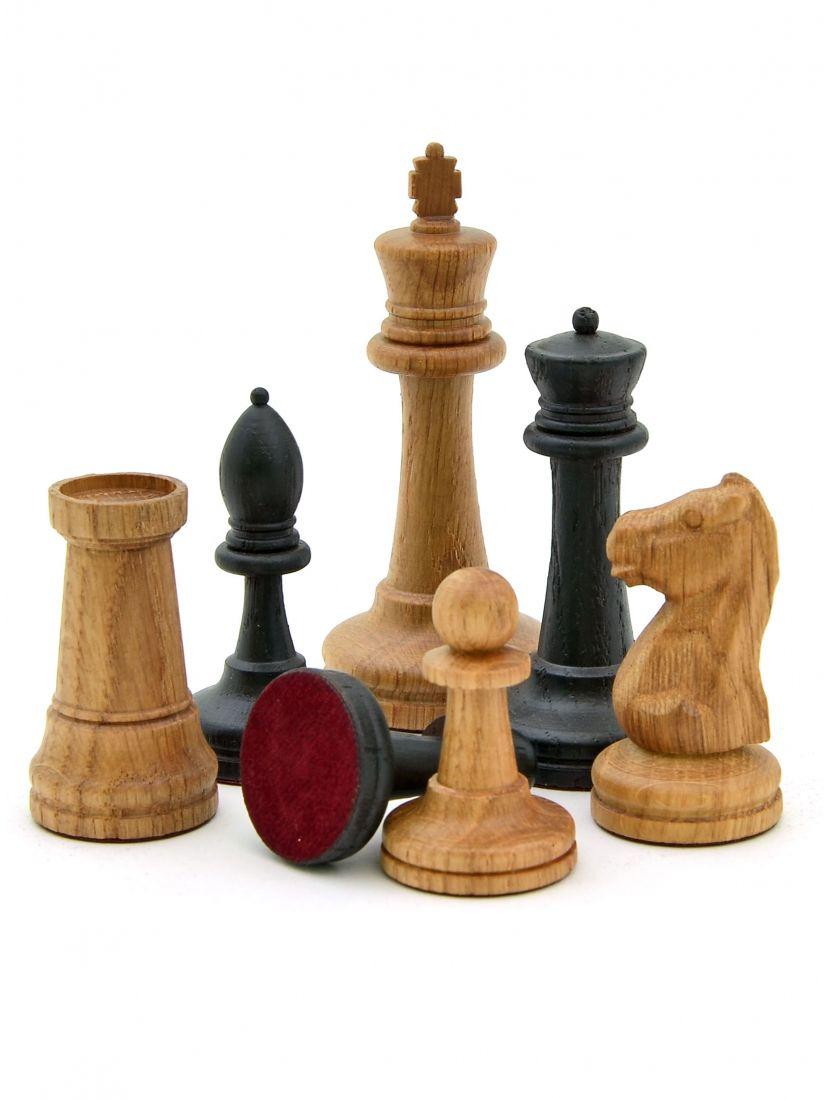 Шахматные фигуры «Стаунтон» из дуба с утяжелением