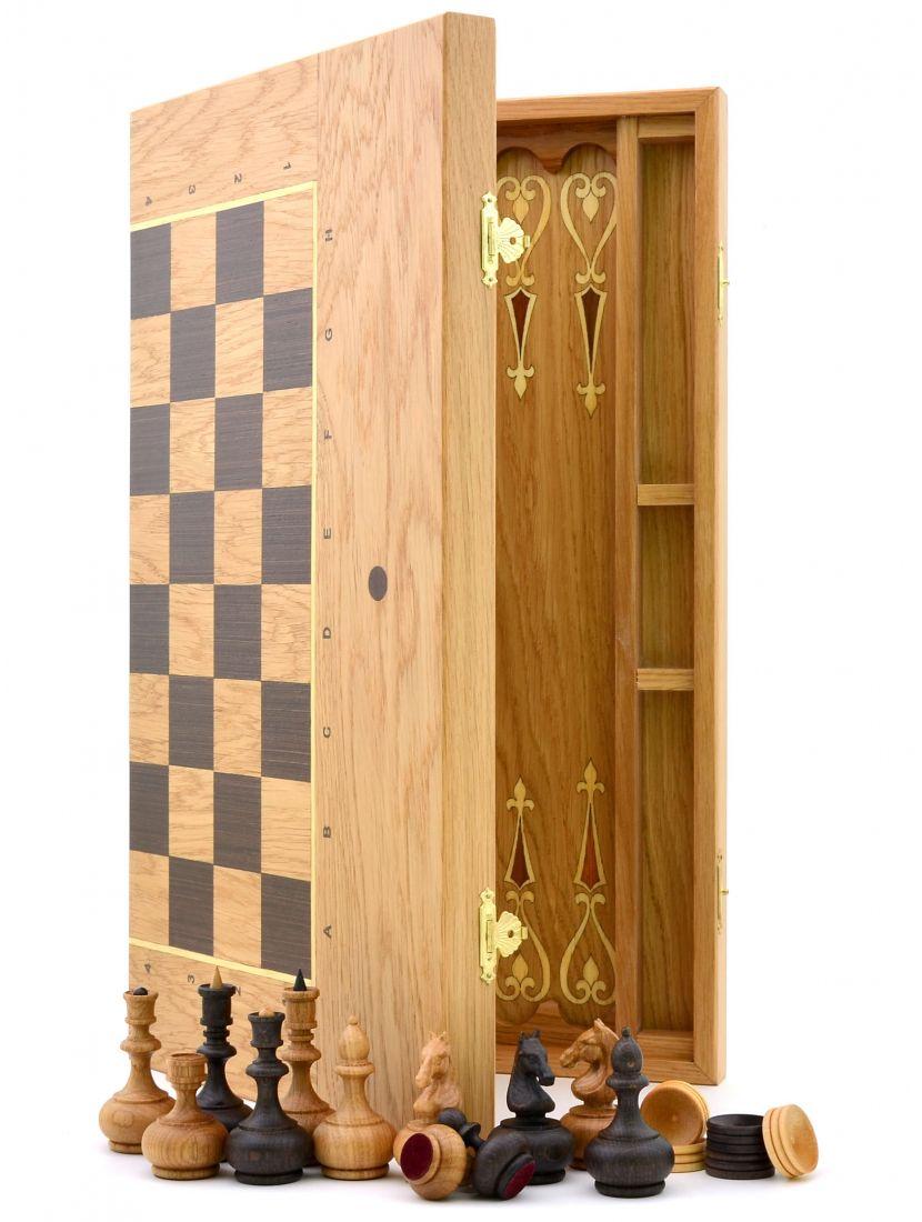 Шахматы + нарды + шашки «Панские» резные фигуры 3 в 1