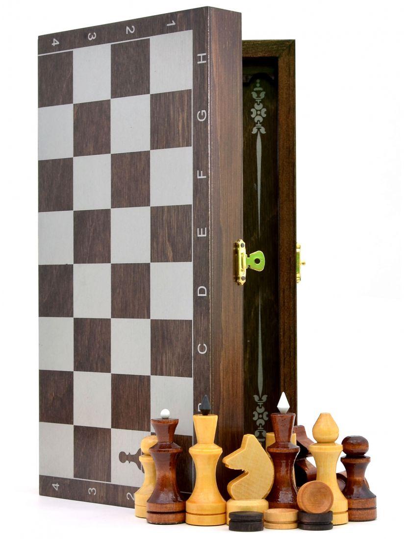 Нарды + шахматы + шашки «Обиходные-серебро» тонированные 3 в 1