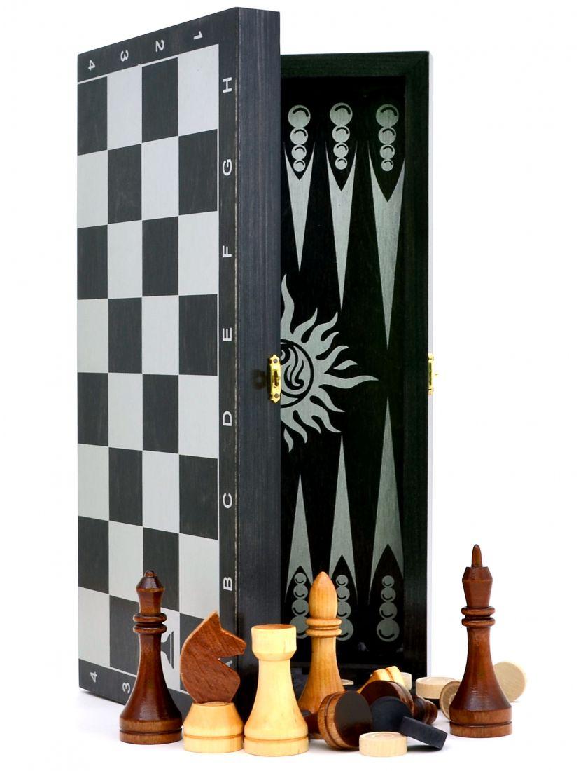 Нарды + шахматы + шашки «Гроссмейстерские-серебро» 3 в 1