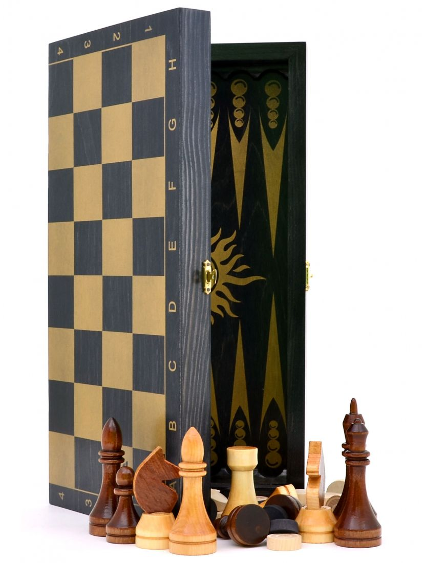 Нарды + шахматы + шашки «Гроссмейстерские-золото» 3 в 1