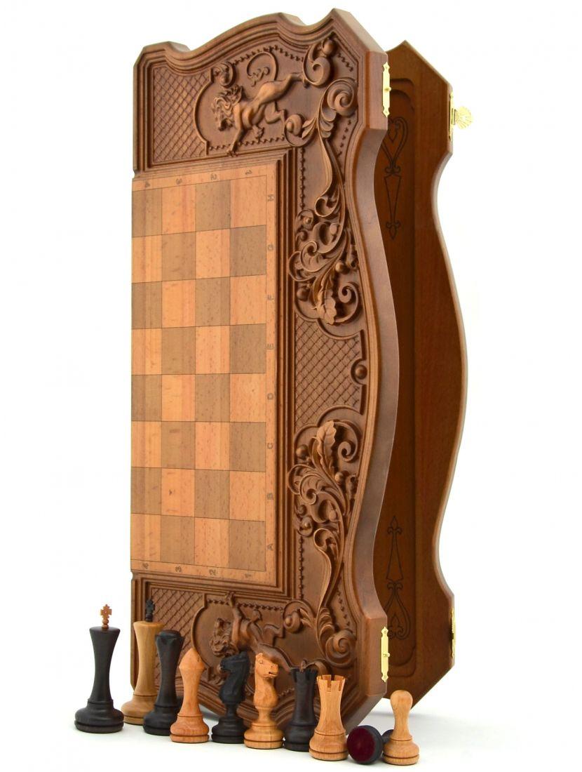 Нарды + шахматы + шашки «Купеческие» фигурки феррум