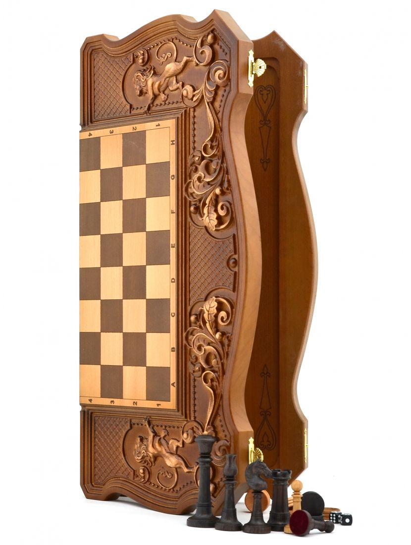 Нарды, шахматы, шашки 3в1 «Купеческие» фигуры Элеганс