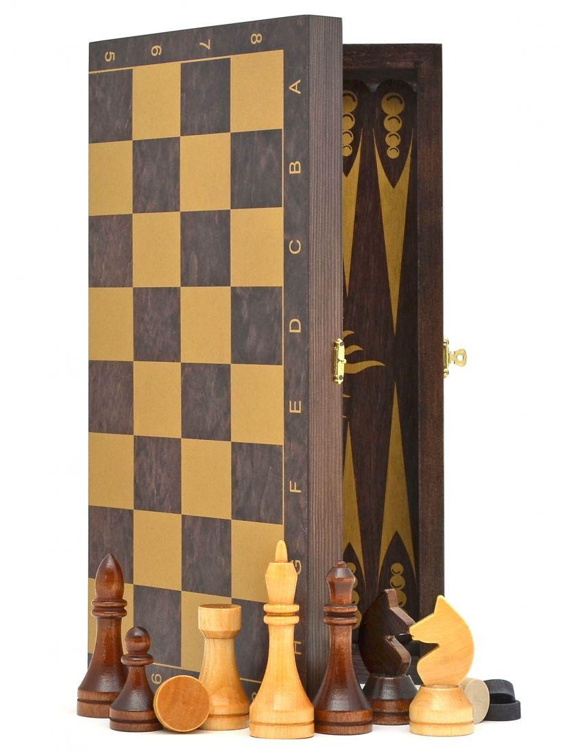 Шахматы + нарды + шашки «Гроссмейстерские-золото» тонированные