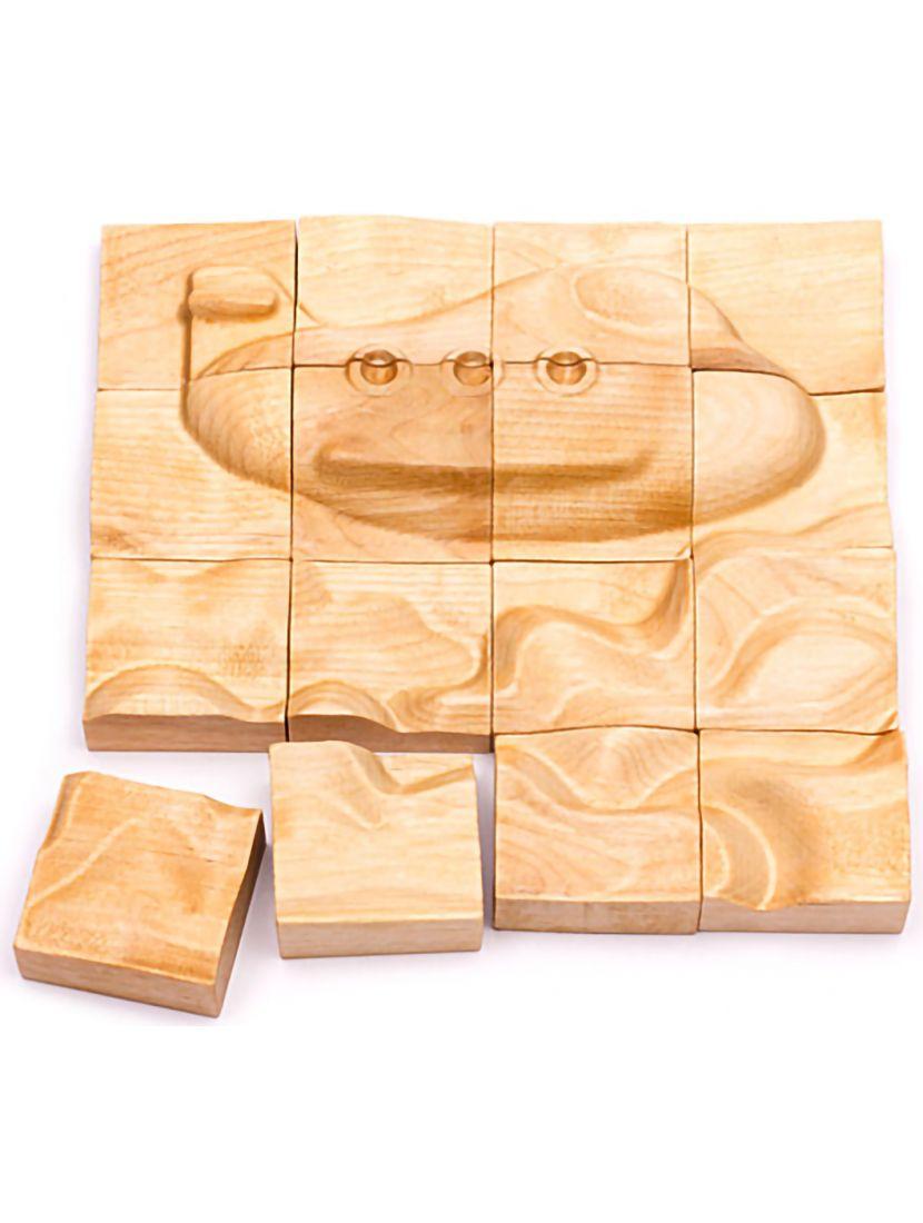 Деревянный пазл с 3D эффектом «Самолёт» 16 элементов