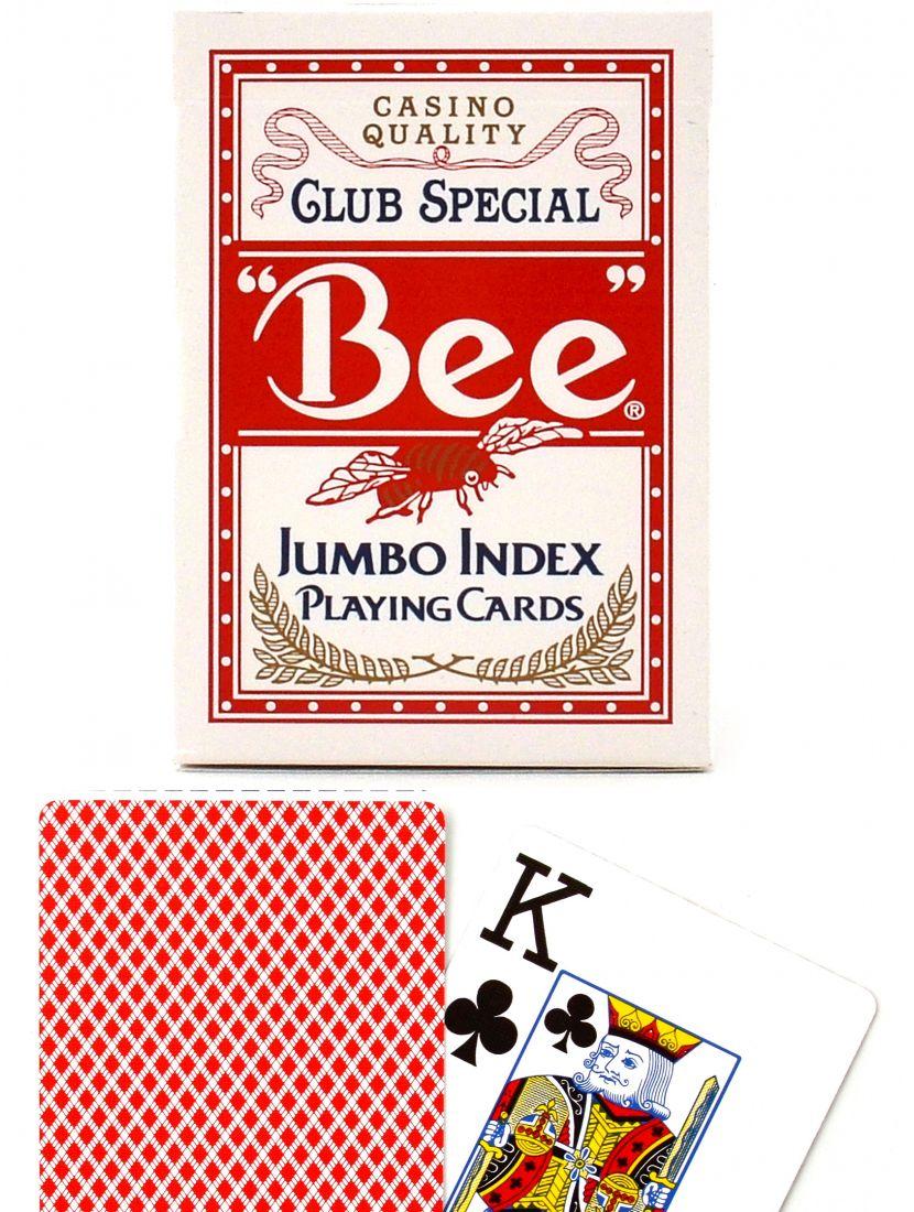 Карты «Bee» Bicycle Jumbo index красные