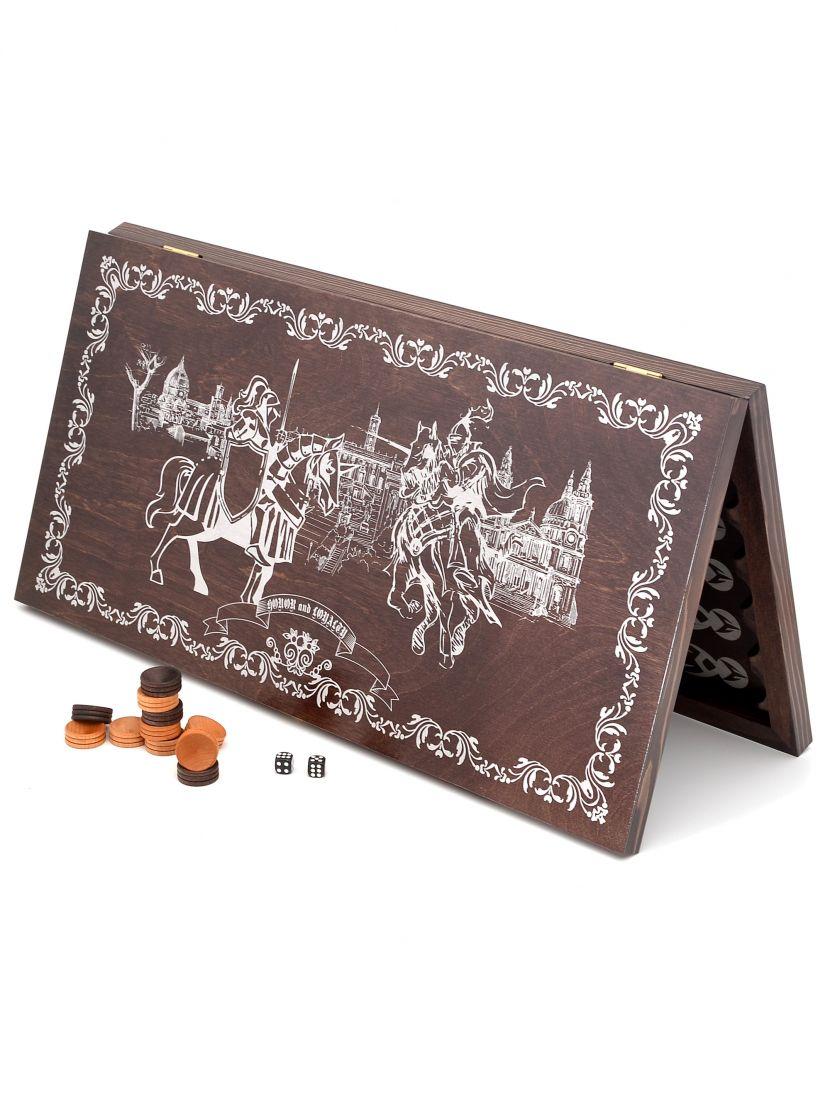 Нарды «Рыцари» серебряный рисунок