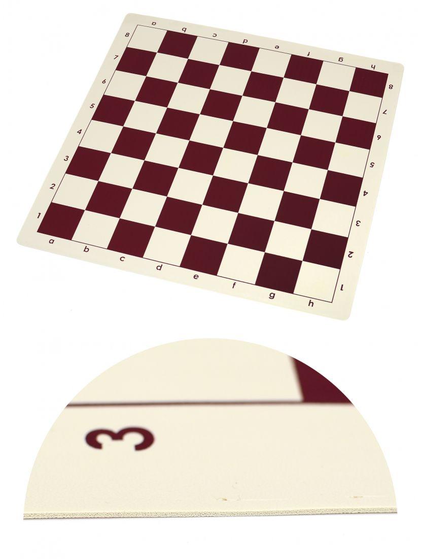Шахматная доска «Виниловая» бордово-белая большая