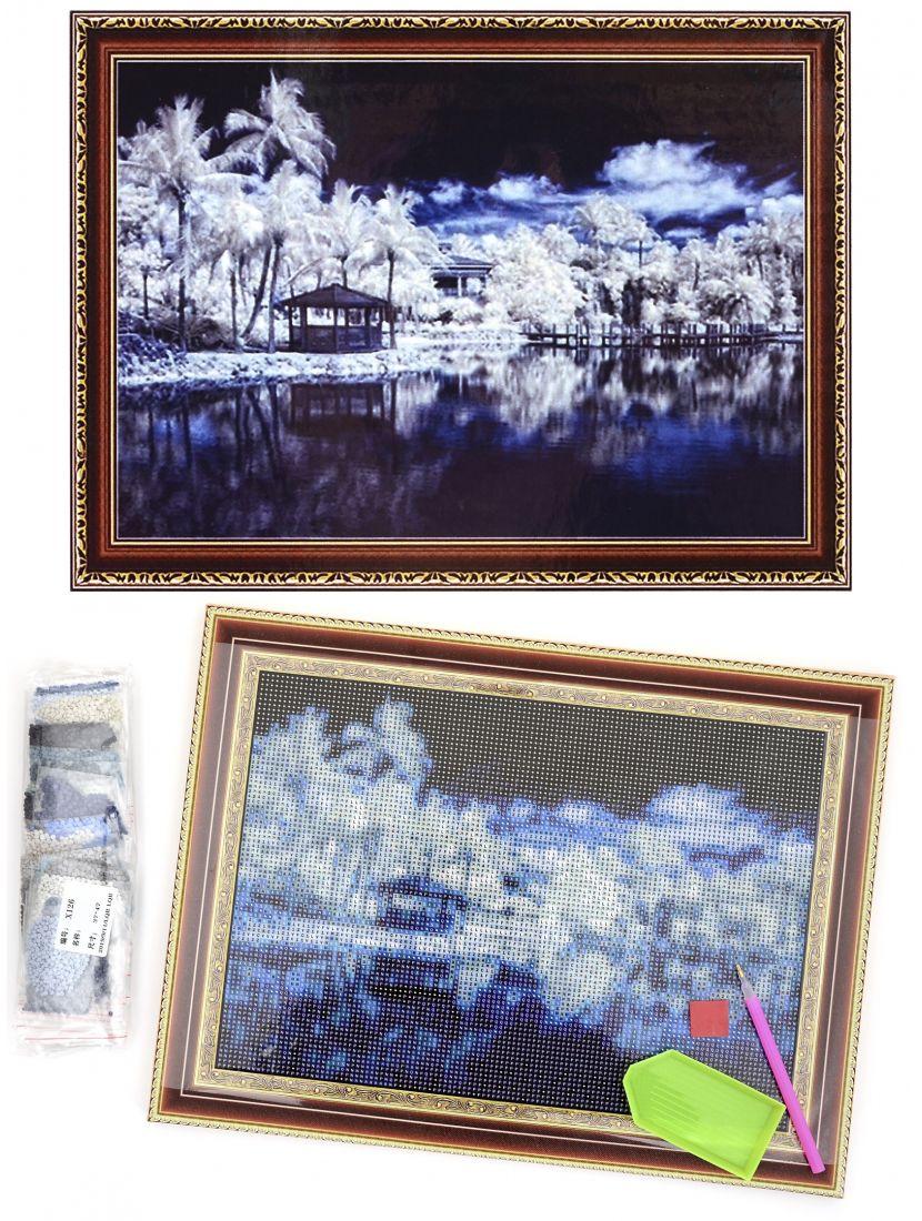 """Алмазная мозаика на подрамнике """"Небо, Вода, Белый остров"""""""
