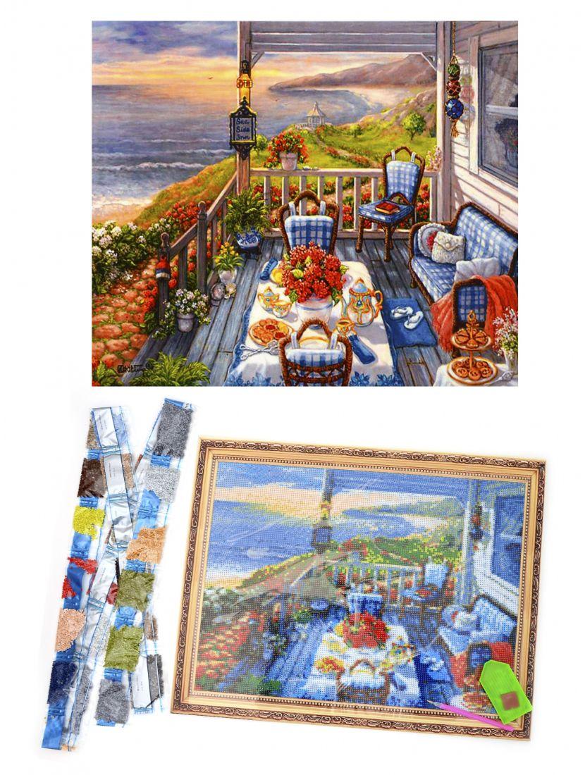 Алмазная мозаика на подрамнике «Ужин в беседке на берегу моря»