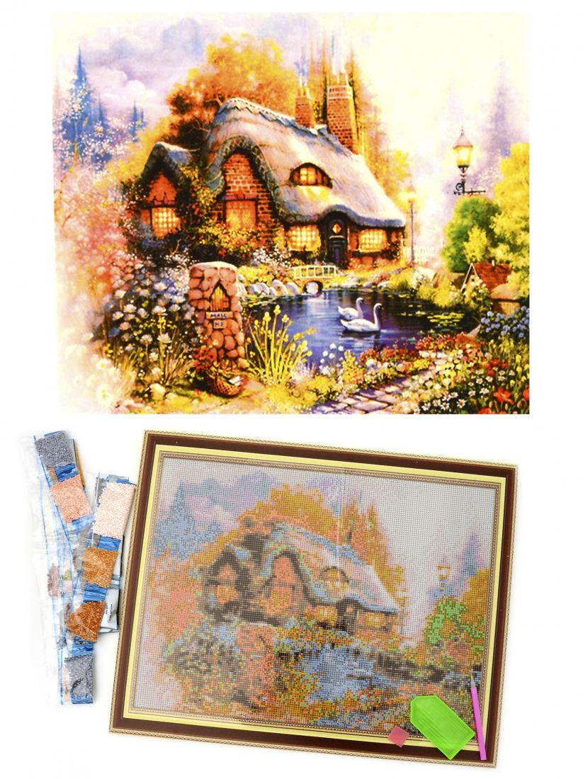 Алмазная мозаика на подрамнике «Домик в лесу»