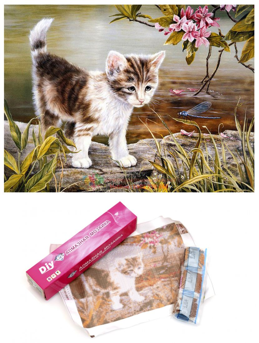 Алмазная мозаика «Котёнок и стрекоза»