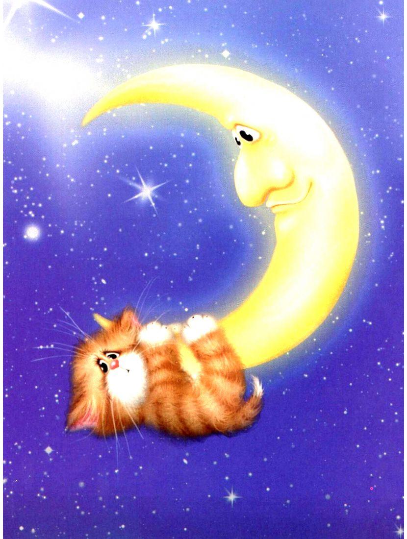 """Алмазная мозаика """"Котёнок на Луне"""""""