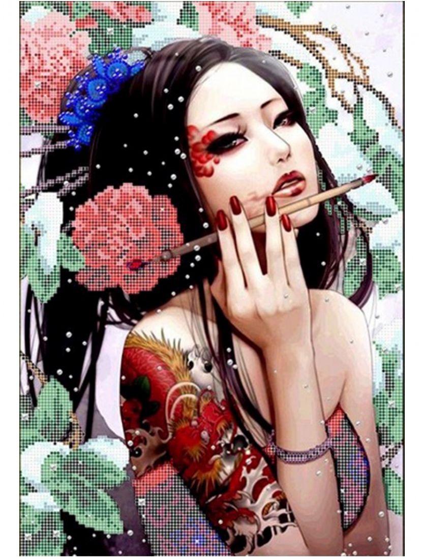 Алмазная мозаика «Девушка с татуировкой дракона»