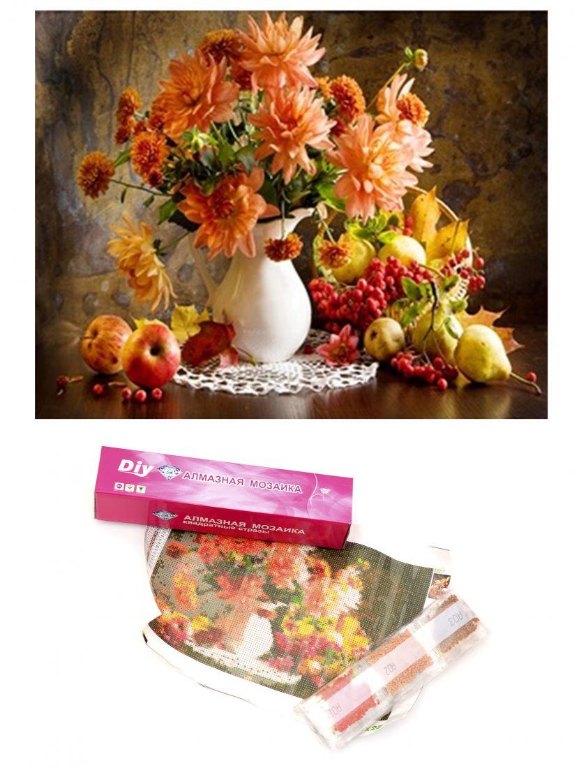 Алмазная мозаика  «Натюрморт с фруктами и цветами»