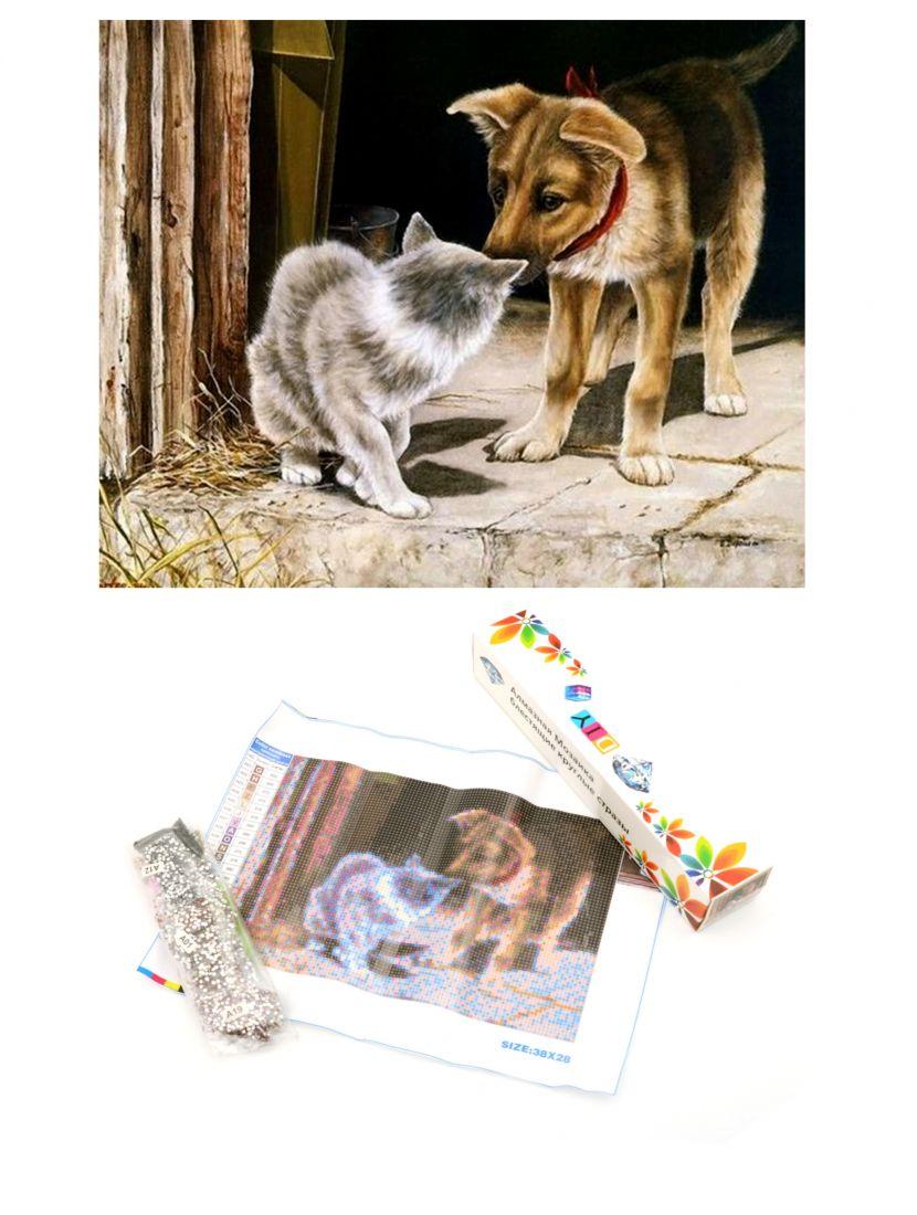 Алмазная мозаика «Кот и пёс»
