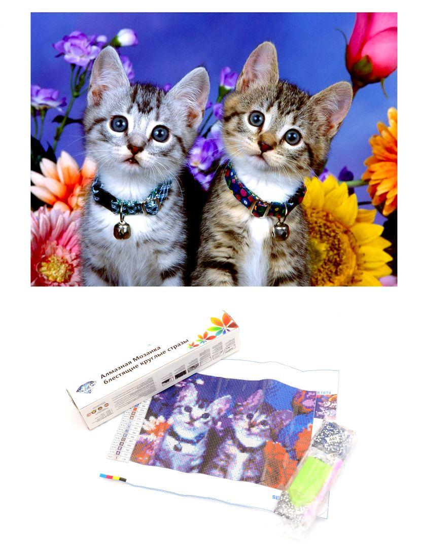"""Алмазная мозаика  """"Котята и цветы"""""""