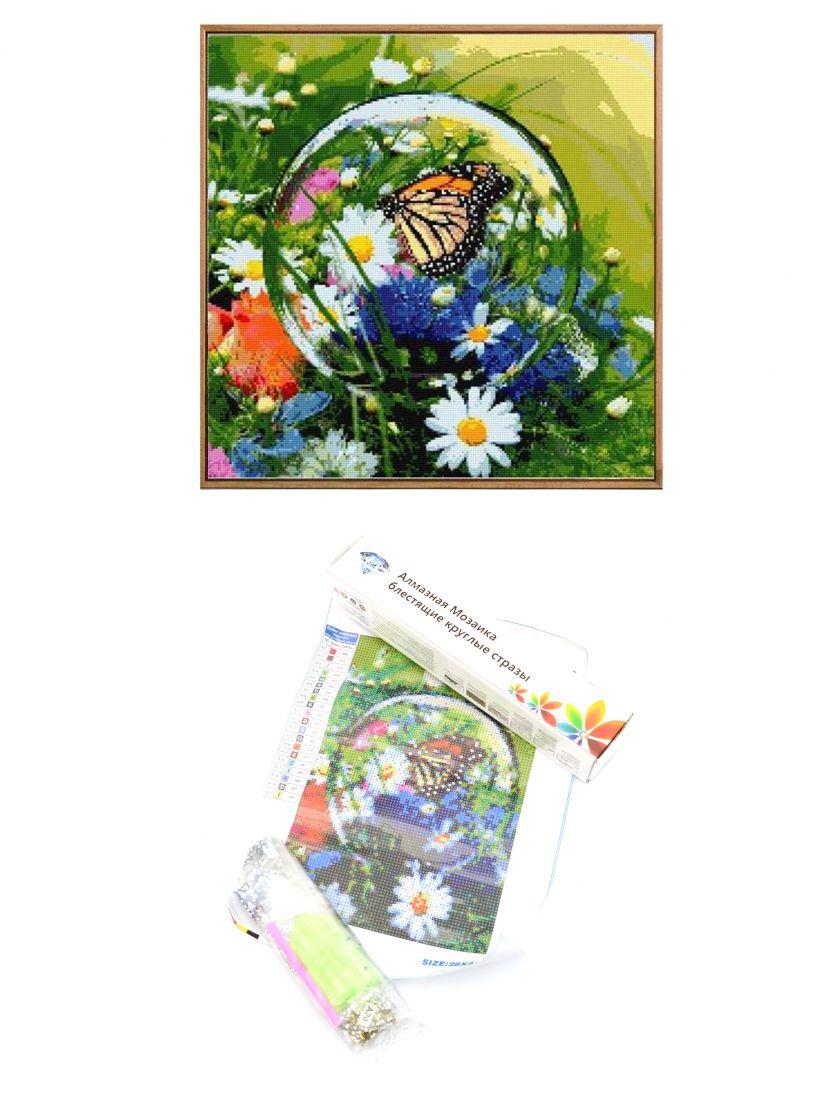 """Алмазная мозаика """"Вид бабочки в капле росы"""""""