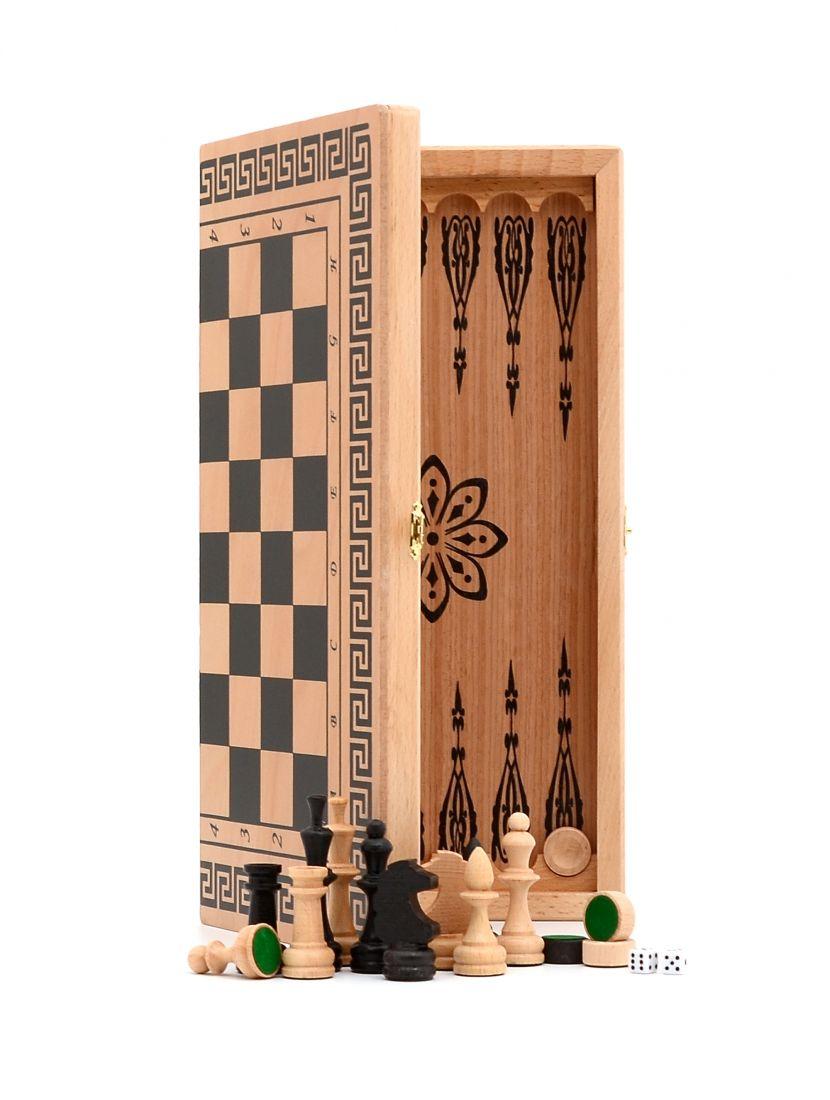 Нарды + шахматы + шашки «Славянские» мини светлый цвет