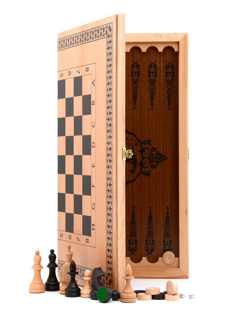 Нарды + шахматы + шашки «Славянские» большие светлый цвет