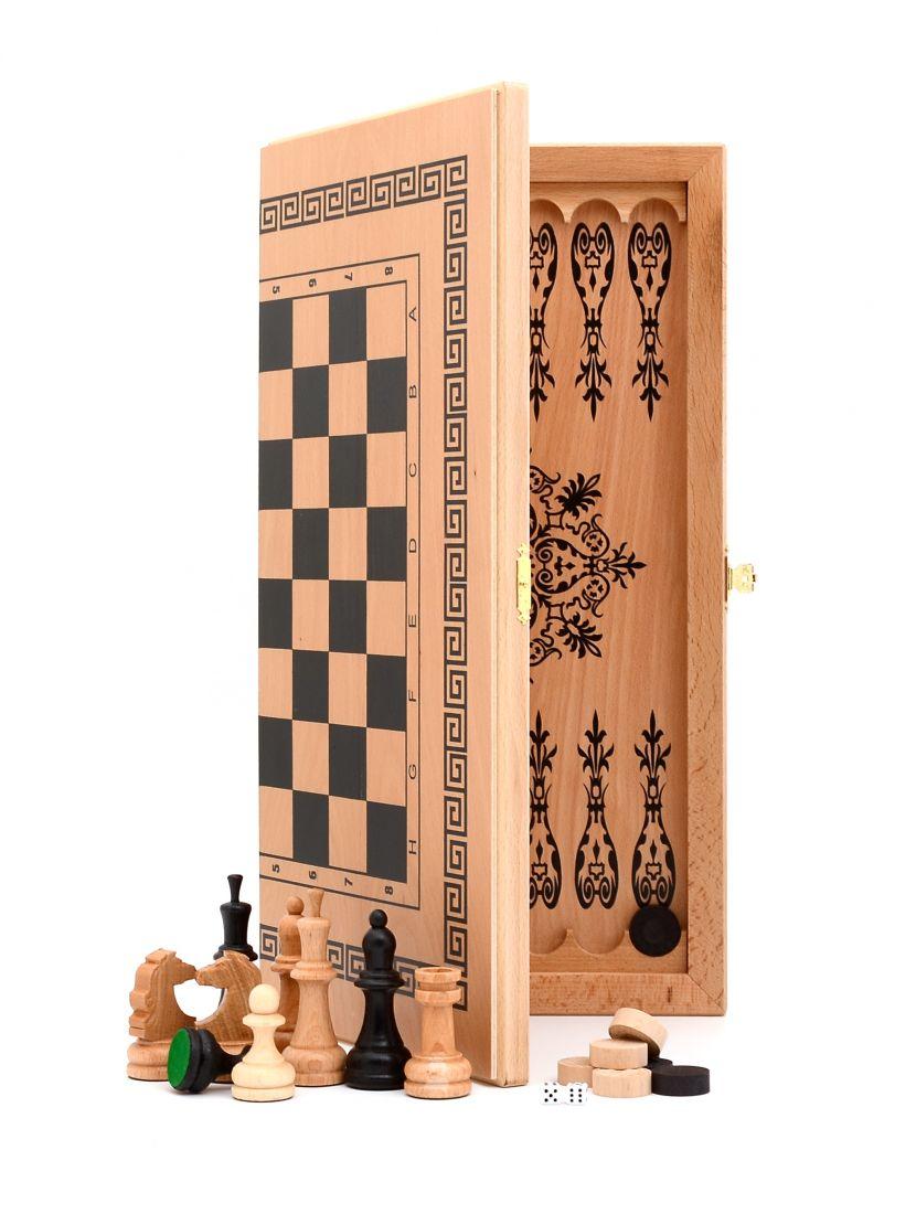 Нарды + шашки + шахматы «Славянские» светлый цвет