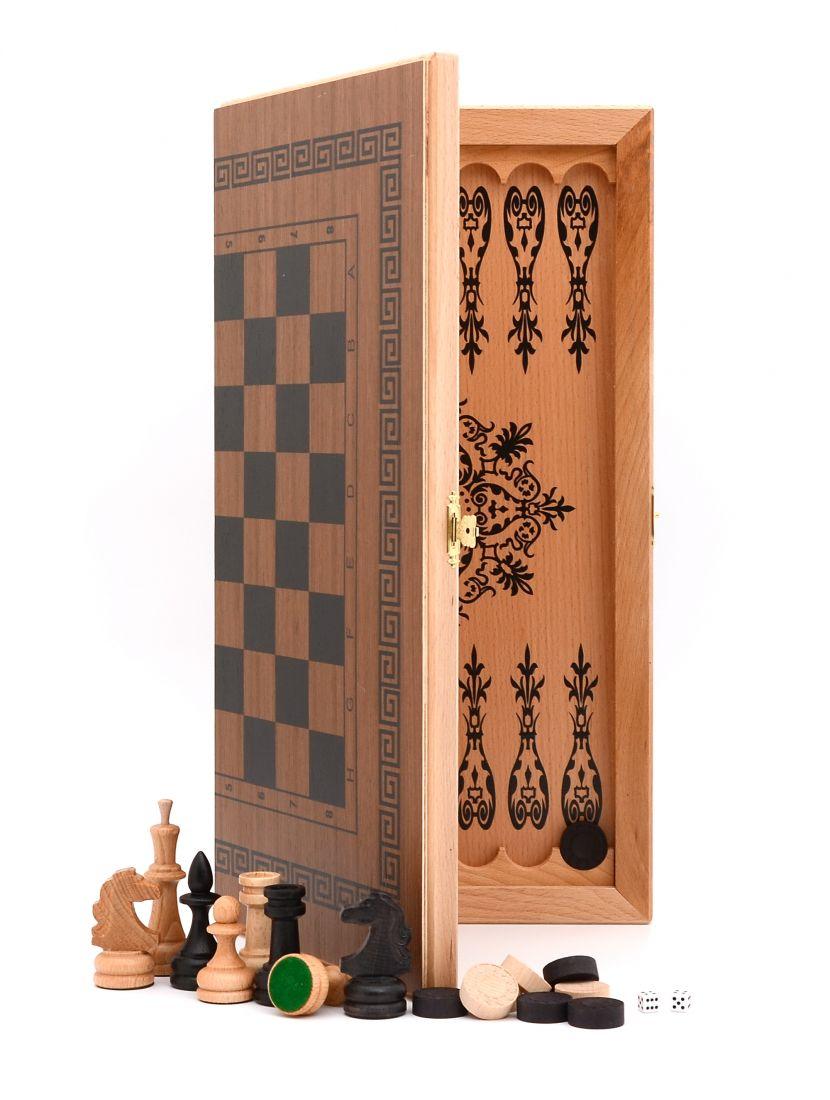 Нарды + шашки + шахматы «Славянские» темный цвет