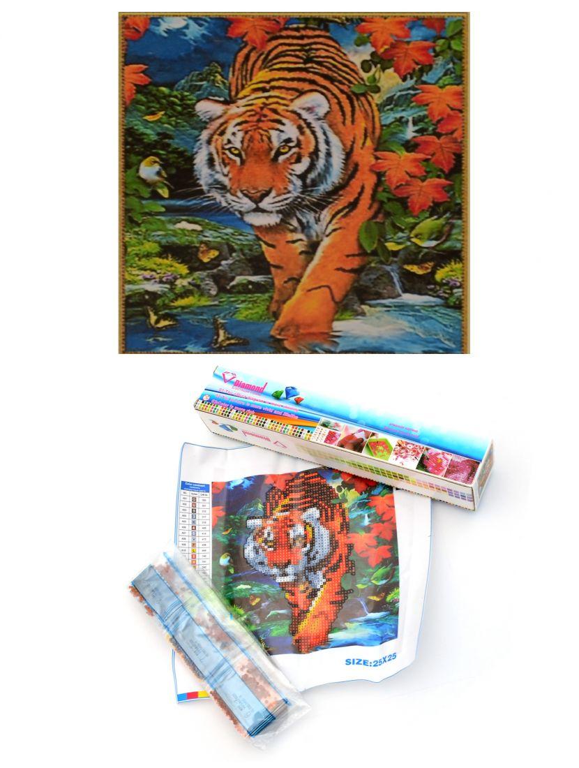 """Алмазная мозаика """"Тигр в джунглях"""""""
