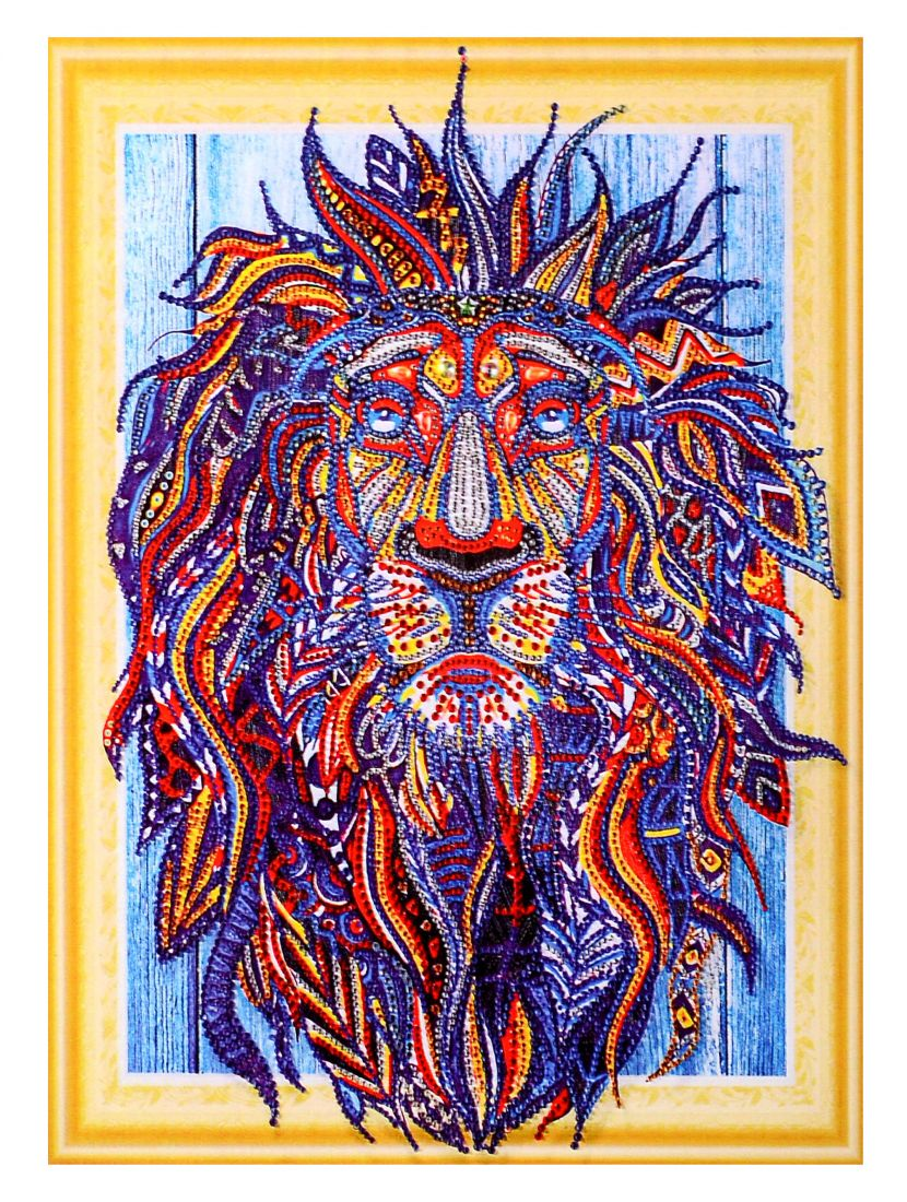 Алмазная мозаика на подрамнике «Фантастический лев»