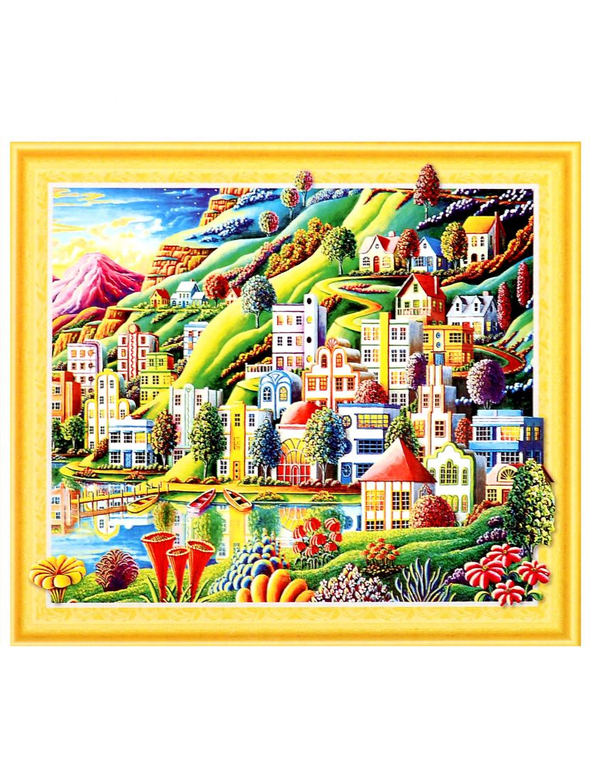 Алмазная мозаика на подрамнике «Город из снов»