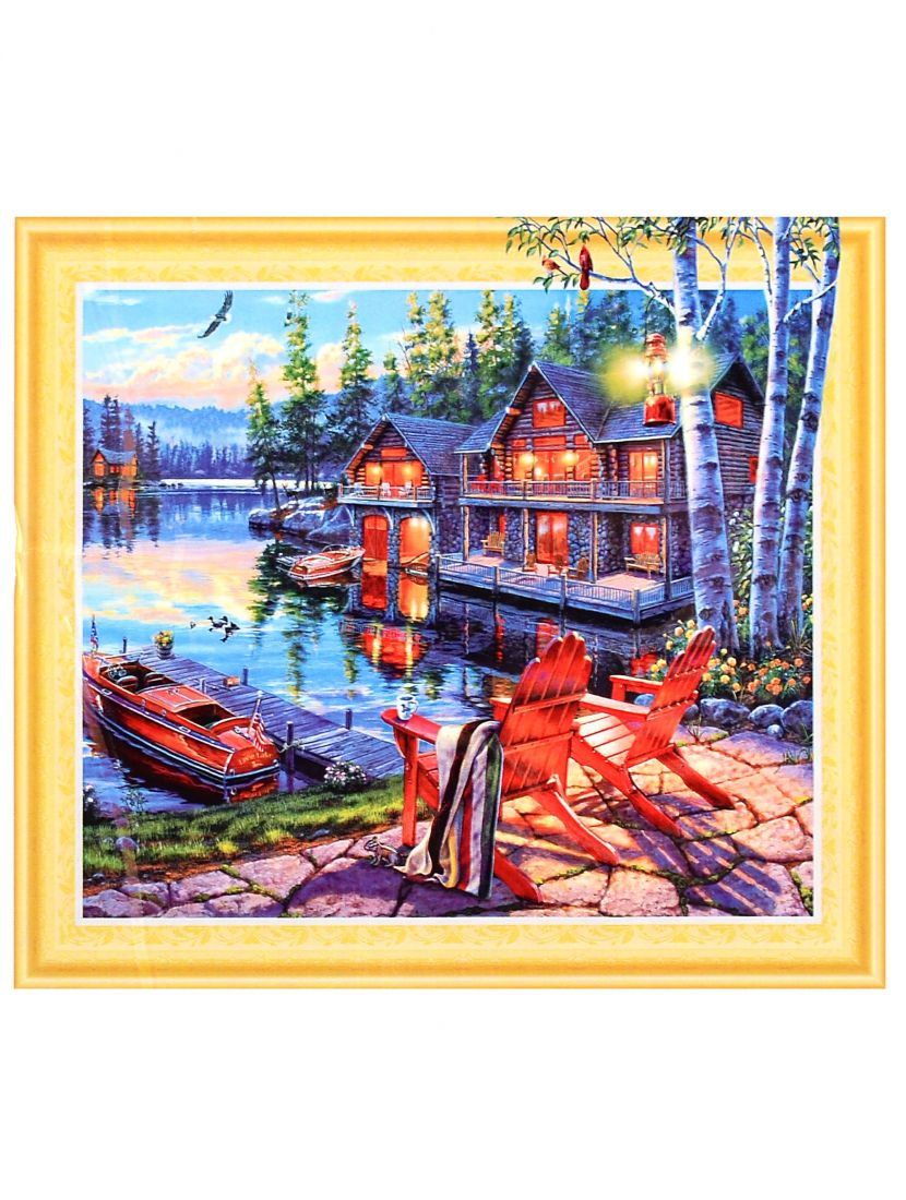 """Алмазная мозаика на подрамнике """"Раннее утро на берегу озера"""""""