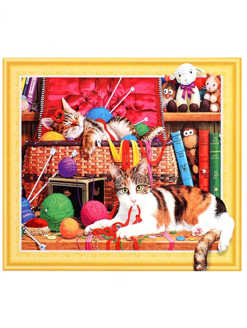 Алмазная мозаика на подрамнике «Кошки среди клубков»