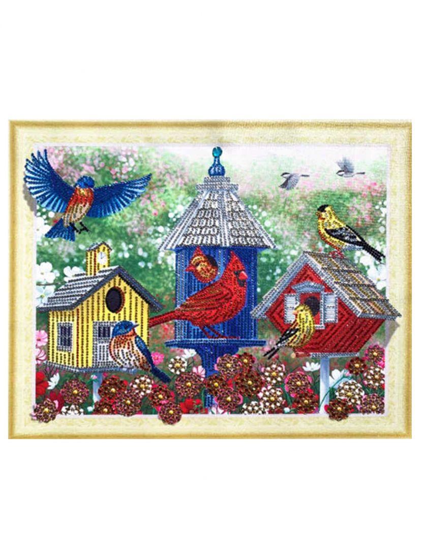 Алмазная мозаика на подрамнике «Птичий город»