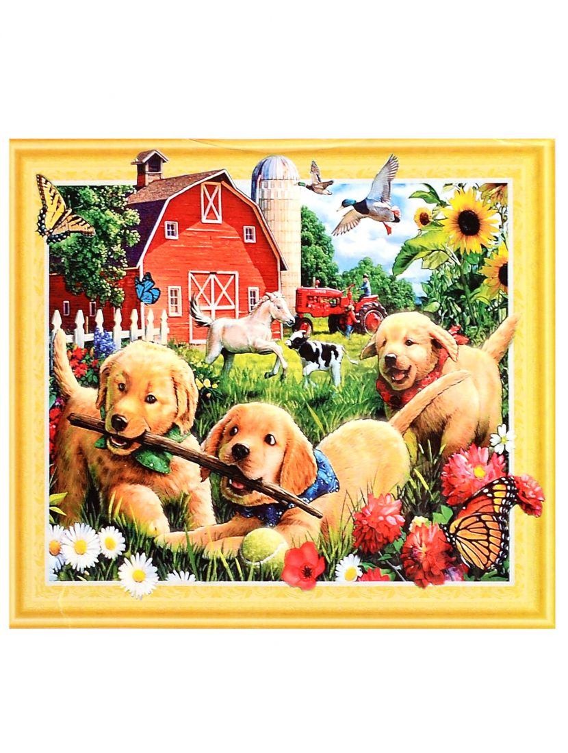 "Алмазная мозаика на подрамнике ""Собаки - дачники"""