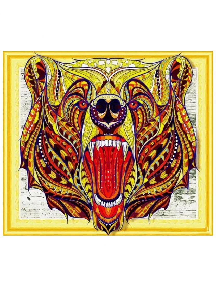 Алмазная мозаика на подрамнике «Рычащий медведь»