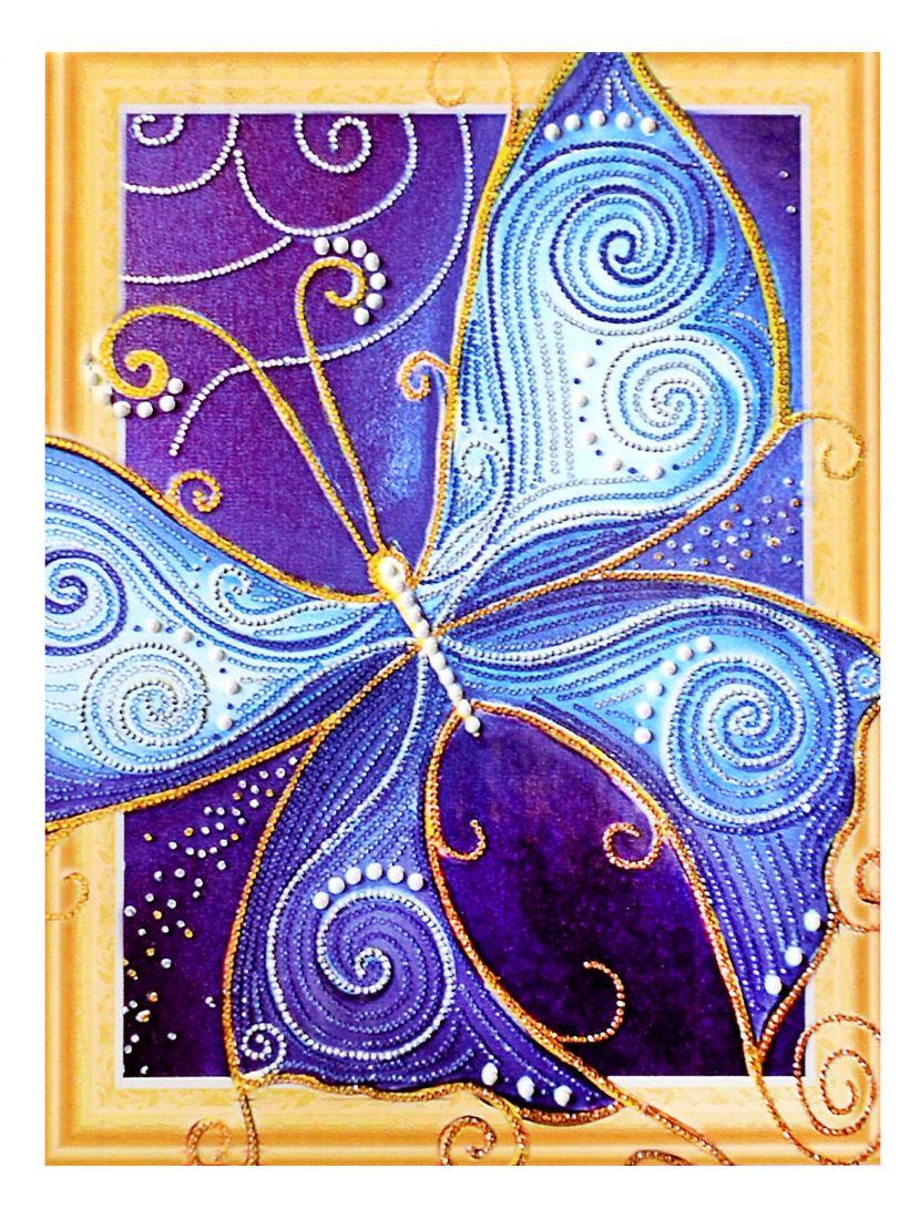 Алмазная мозаика на подрамнике «Синяя бабочка»