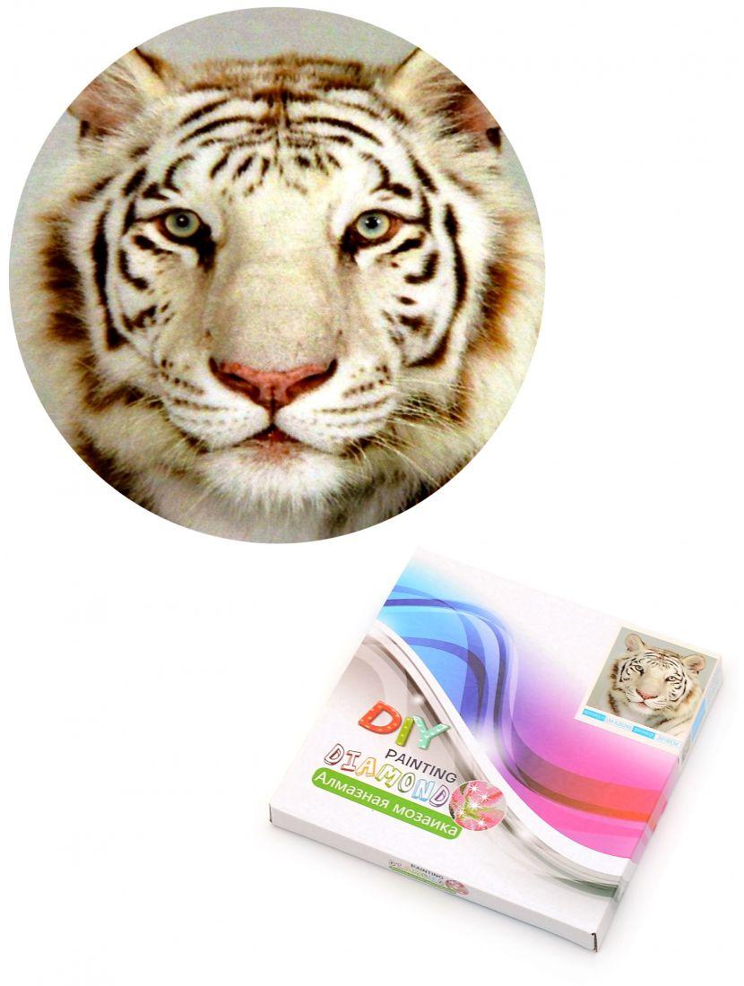 Алмазная мозаика на подрамнике «Белый тигр»