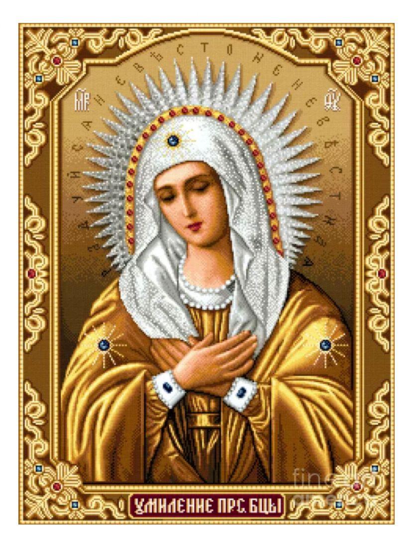"""Алмазная мозаика на подрамнике """"Божией Матери. Умиление"""" икона"""