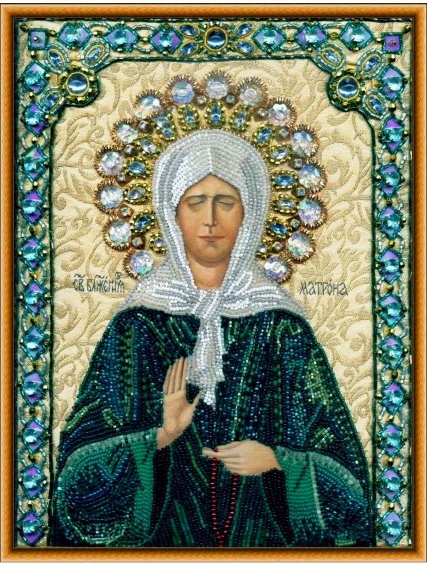 Алмазная мозаика на подрамнике «Святая Матрона Московская» иконы